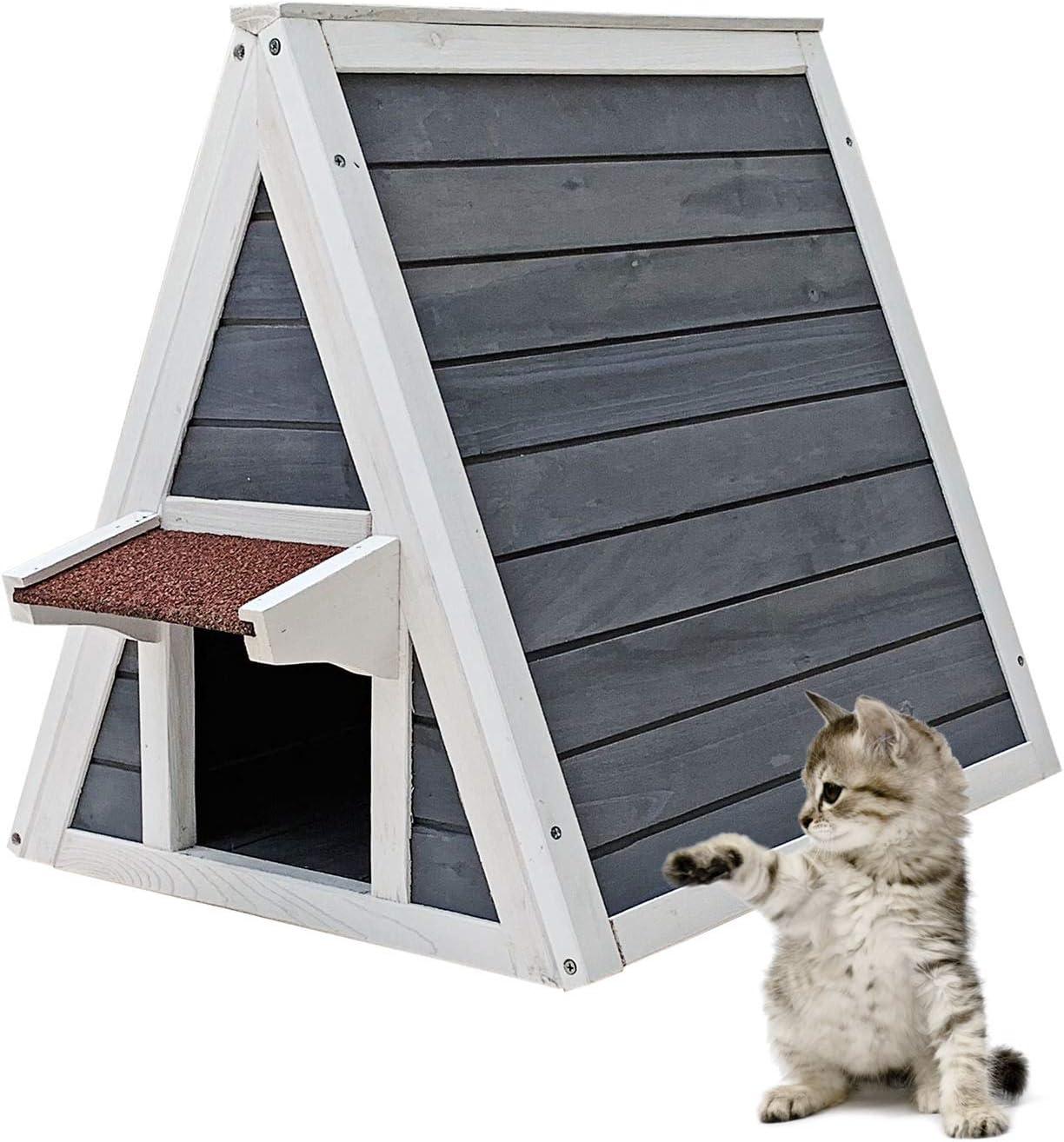 Wooden Weatherproof Cat House 51 X 50 5 X 48 5 Cm For Indoor And Outdoor Use With Escape Door Amazon Co Uk Pet Supplies