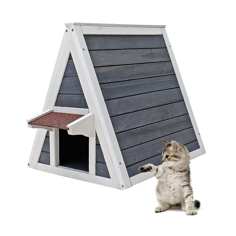 Wiltec Cuccia Gatto Casa casetta per Gatti Legno con Doppio Ingresso 51 x 50,5 x 48,5 cm