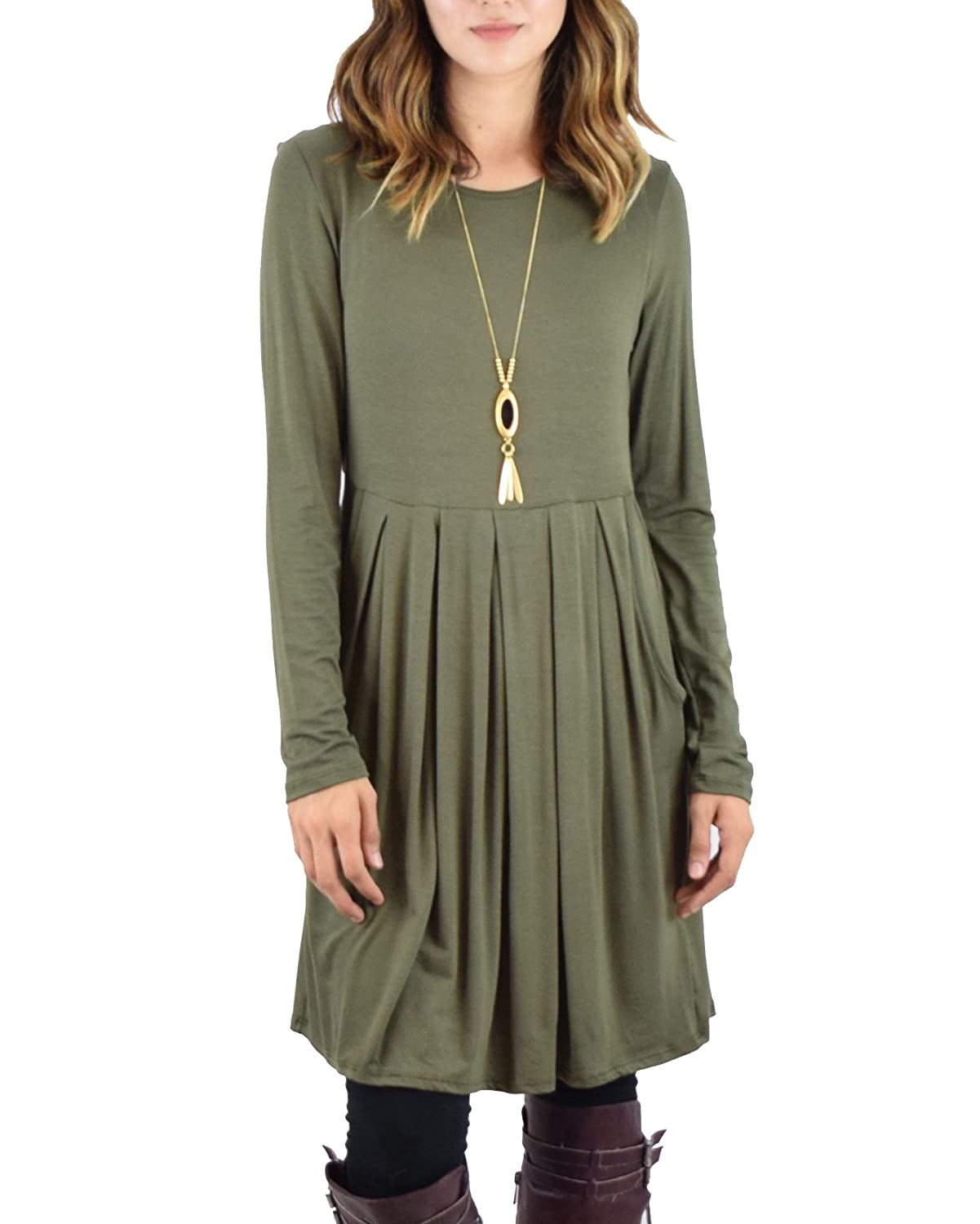 Green Ivay Women's Long Sleeve Pleated Swing Dress Casual T Shirt Dress with Pockets
