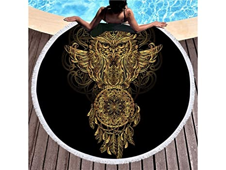 kxrzu Gracioso Patrones de búho impresos ronda toalla de playa con borlas Super absorbente de agua