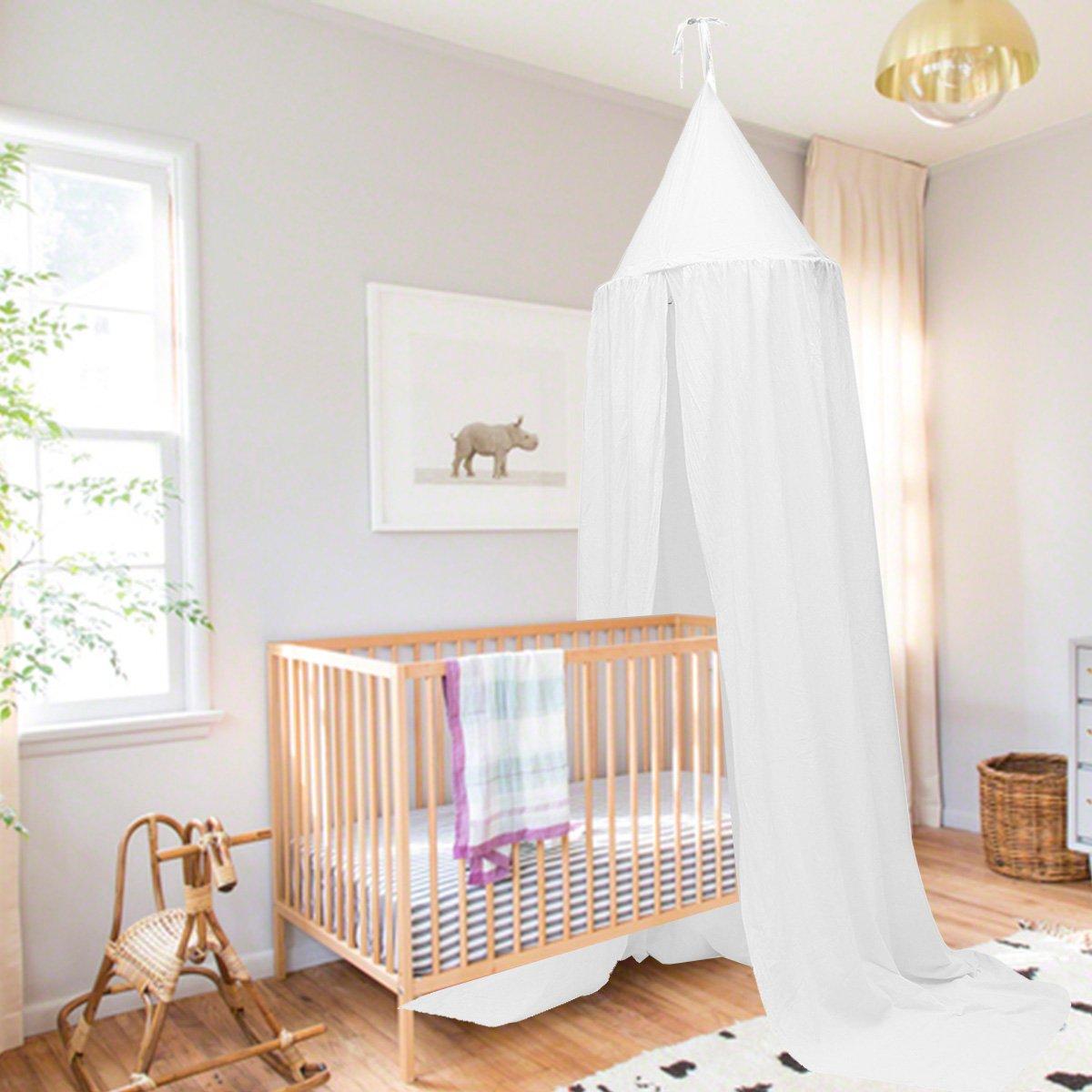 Baldachin Kinder Jeteven Betthimmel Babys Bett Moskitonetz aus Baumwolle f/ür Kinderzimmer und Schlafzimmer Insektenschutz H/öhe 240cm Wei/ß