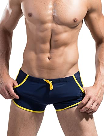 53caa707c6 DESMIIT Mens Swimwear Shorts Pocket Trunk Boxer Brief Swim 4034  (L(31-34