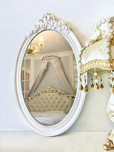 Basswood Hunters 25 x 16 Large Oval Vintage Decorative Wall Mirror, White Wooden Crown Frame, Antique Princess Decor for Bedroom,Playroom,Dressers,Living Room