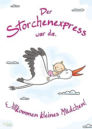 Willkommen Baby Mädchen Poster Din A2 Das Begrüßungs Plakat Mit Storch Nach Der Geburt Eines Mädchenstochter Herzlich Willkommen Zu Hause