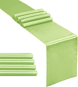 Hahuho 5-Pack Satin Table Runner Apple Green 12 x 108 inches Long, Table Runners for Wedding, Birthday Parties, Banquets Decorations(5 Pack, 12x108 Inch, Apple Green)