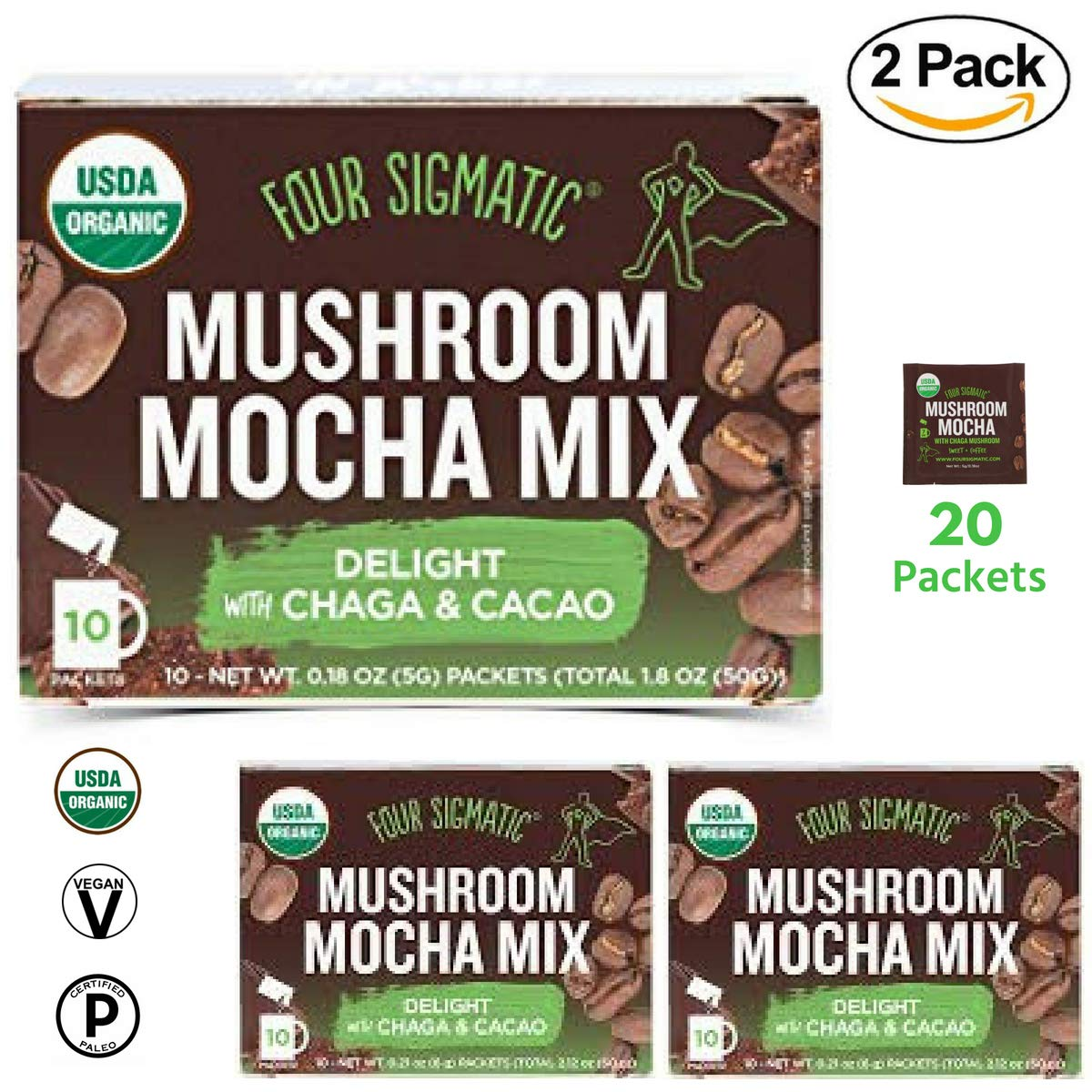 Four Sigmatic - Mushroom Mocha Mix with Chaga & Cacao (2 Packs of 10 Packets) - Support Immune System, Antioxidant, Memory Function. Elevated Mood - USDA Organic, Vegan & Paleo