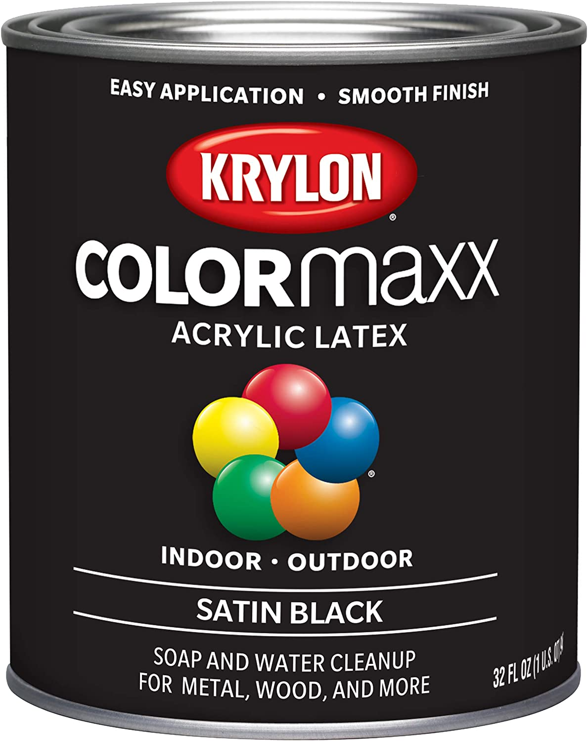 Krylon K05626007 COLORmaxx Brush On Paint, Quart, Black