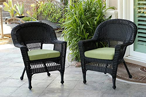 Jeco Wicker Chair with Green Cushion, Set of 2, Black W00207-