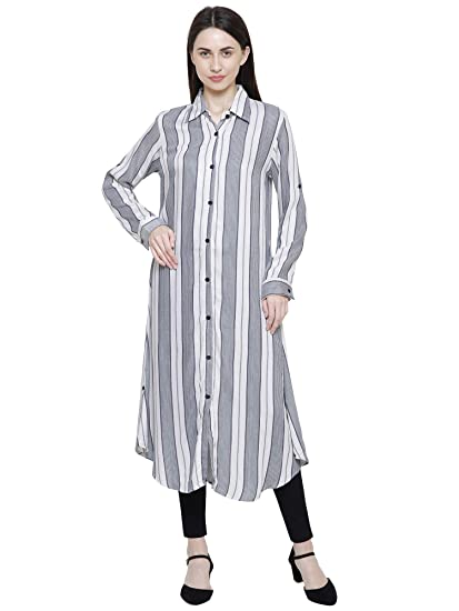 6eaf8d0ad0f DAMEN MODE Women Off-White & Grey Striped Rayon Long Kurti Dress (Medium)