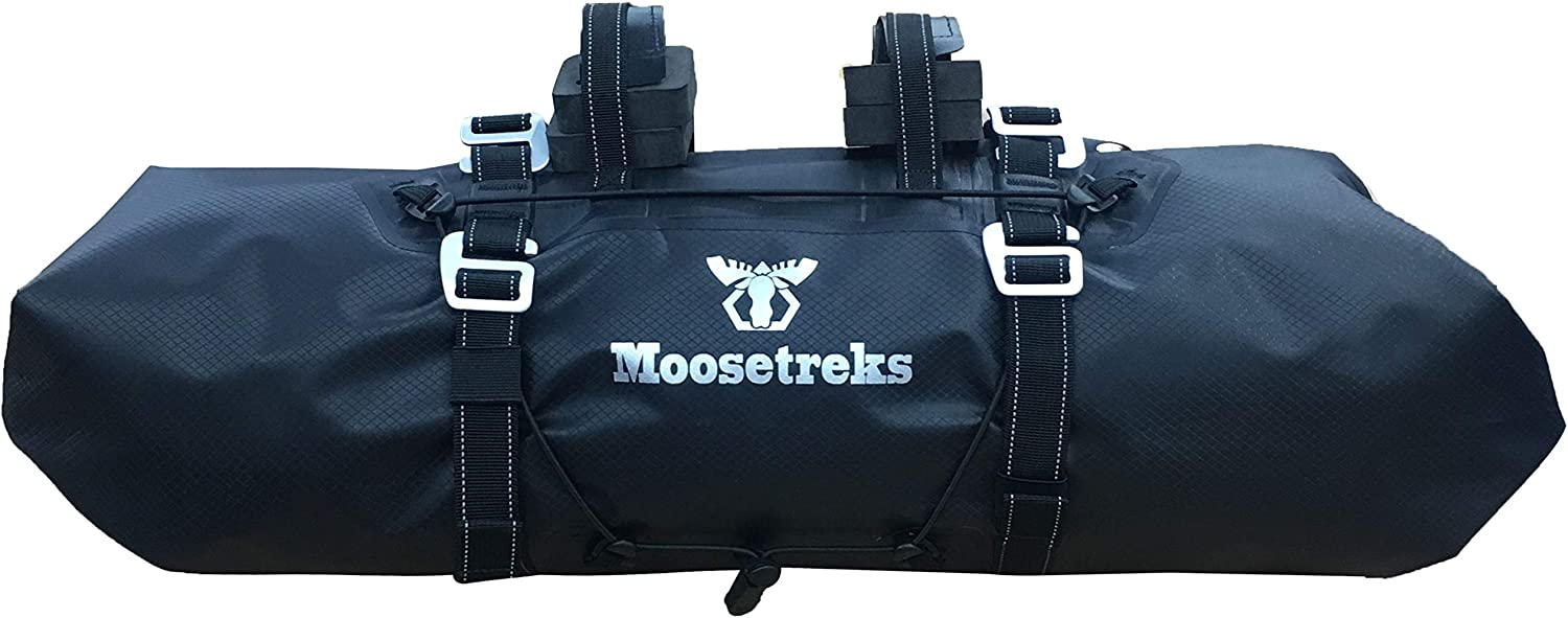 Moosetreks Handlebar Bag | Lightweight Rackless Mounting Bikepacking System | Adjustable Width 2-Way Roll Opening Waterproof Pack | Secure 3-Point Handlebar Attachment