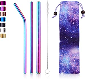 Reusable Metal Straws Extra Wide Drinking Straws with Straw Brush & Pouch Stainless Steel Straws Kit for 20oz Tumblers Mugs Cool Party & Bar Accessories Magic