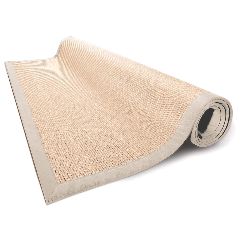 Casa pura® Sisal Teppich aus Naturfasern   natur   mit Bordüre aus Baumwolle   pflegeleicht   Größe wählbar (200x200 cm)