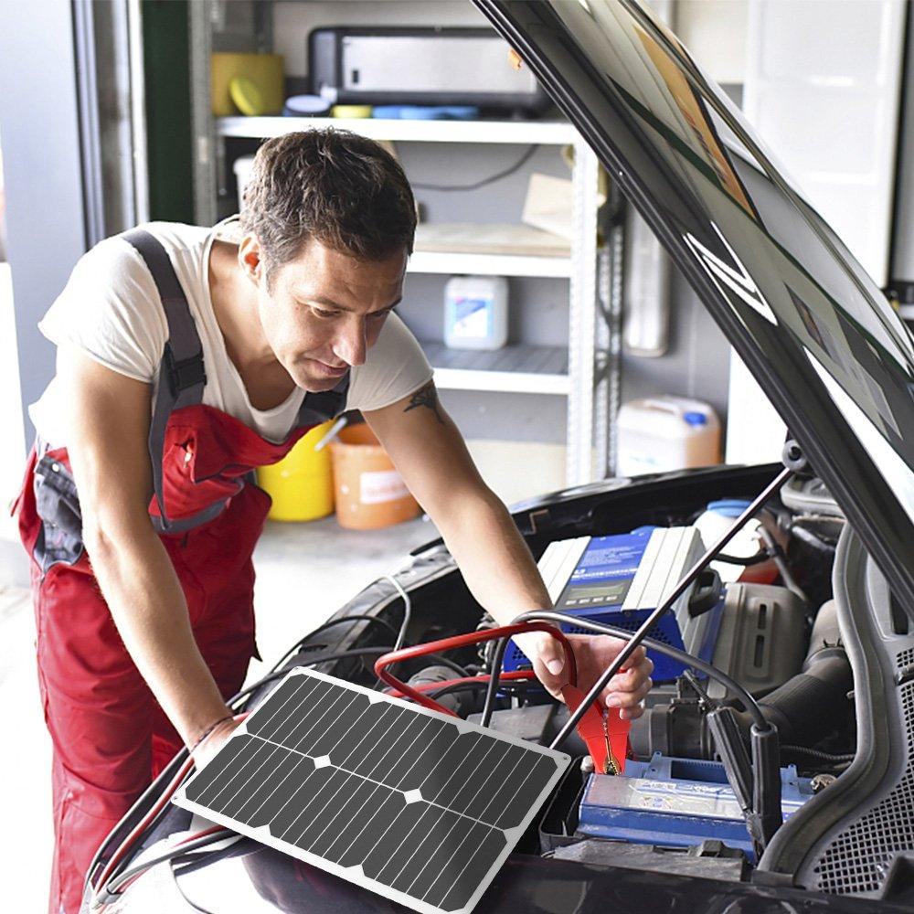 ALLPOWERS 18V 12V 10W Portable Solar Panel Ladeger/ät Maintainer Bundle mit Zigarettenanz/ünder-Stecker Krokodilklemme f/ür Automobil-Motorrad-Traktor Boot RV