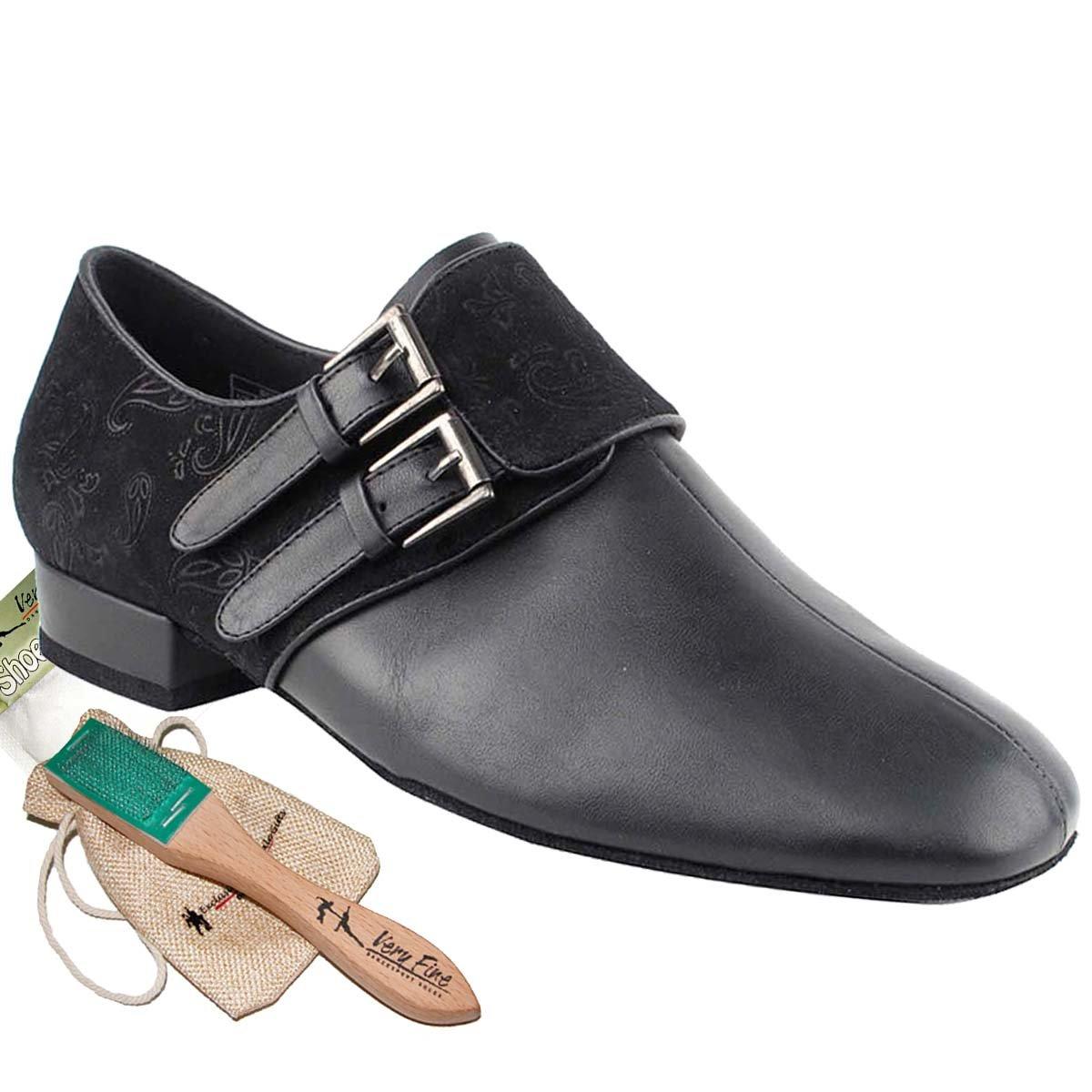 Mens Ballroom Dance Shoes Standard & Smooth Tango Wedding Salsa Dance Shoes Black Leather & Nubuck CD9006AEB Comfortable - Very Fine 1'' Heel 12 M US [Bundle of 5]