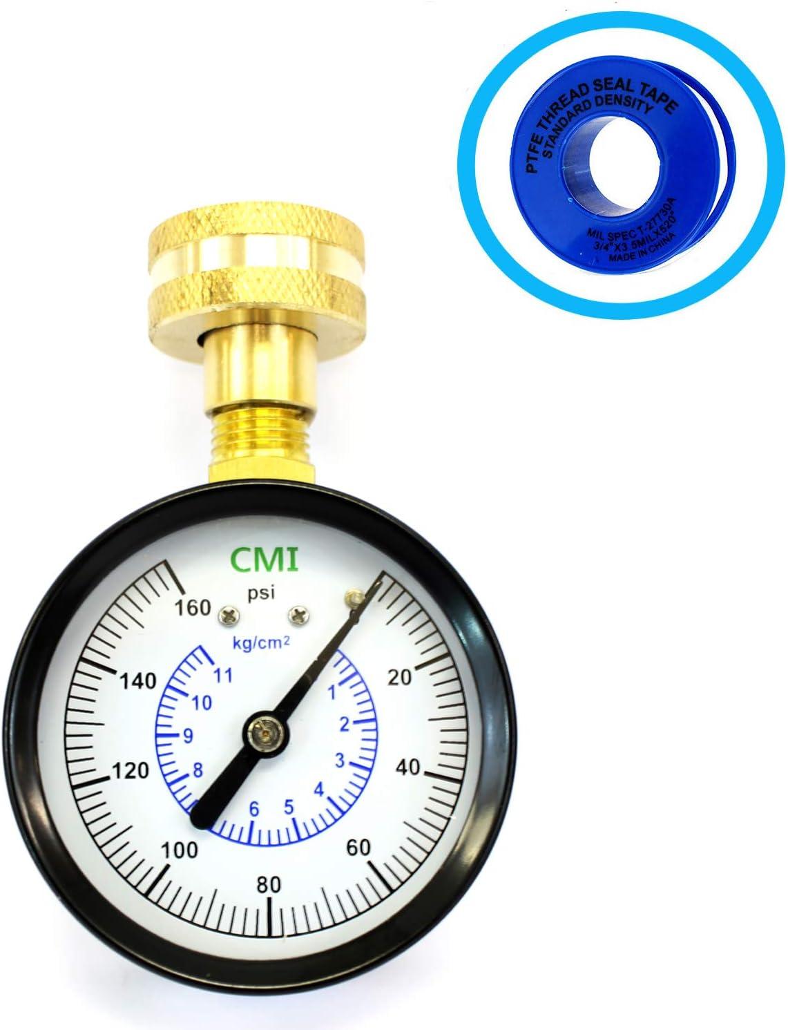 "Charman Manufacturing Water Pressure Test Gauge, 3/4"" Female Hose Thread,0-160 PSI,for Home,Hose Bib, Garden Hose, Water Pressure Tester Meter (160 PSI)"