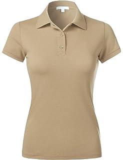 e18eb9d6 Ma Croix Essentials Womens Polo Shirts Slim Fit Stretch Pique Plain Uniform Short  Sleeve Jersey