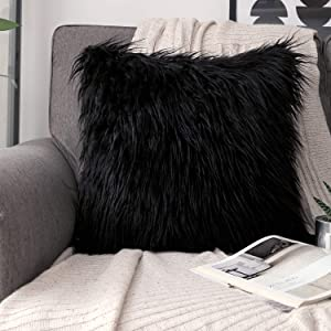 Phantoscope Luxury Series Throw Pillow Covers Faux Fur Mongolian Style Plush Cushion Case for Couch Bed and Chair, Black, 18 x 18 inches, 45 x 45 cm