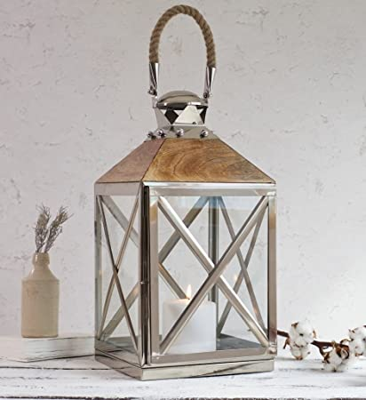 Sale Garden Candle Lantern Natural Wooden Top High Quality