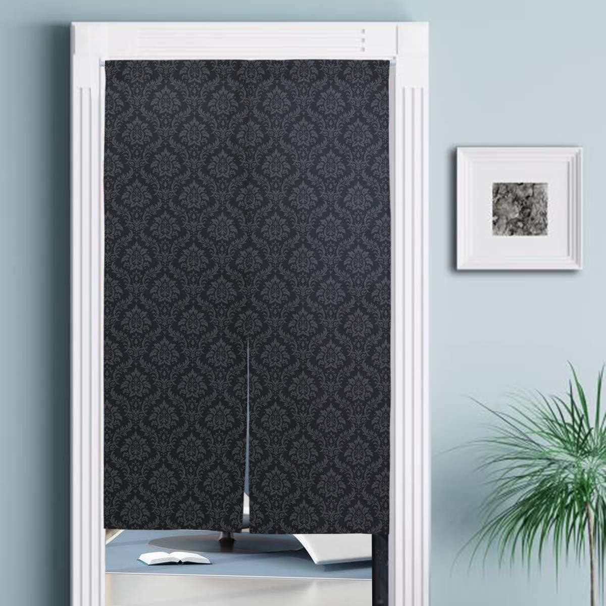 Doublecw Black And Grey Home Japanese Noren Doorway Curtain Kitchen Bedroom Bathroom Tapestry 34 Width X 56 3 Long Home Kitchen