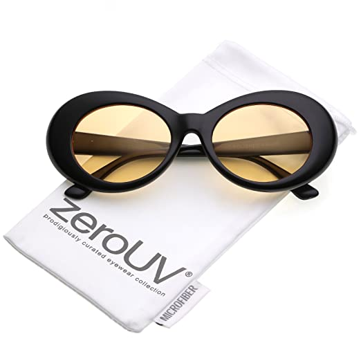 5c8dc27801 zeroUV - Bold Retro Oval Mod Thick Frame Sunglasses Clout Goggles with  Color Tinted Round Lens