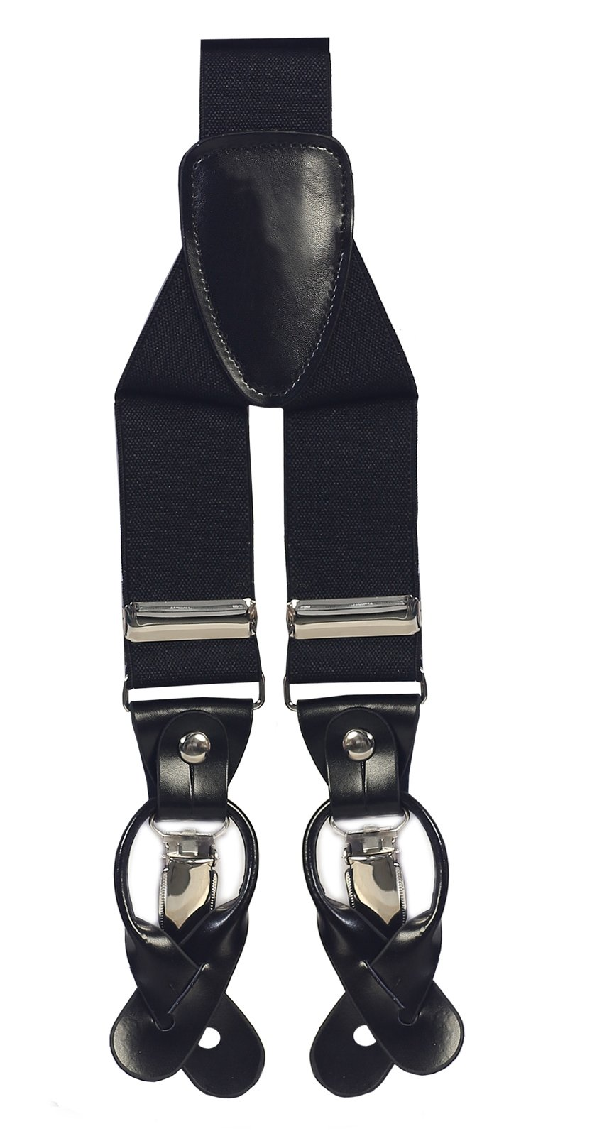 """GIFT_Mens 1 3/8"""" Button & Clip Leather Patch Convertible Suspenders_MULTI COLORS (Black)"""
