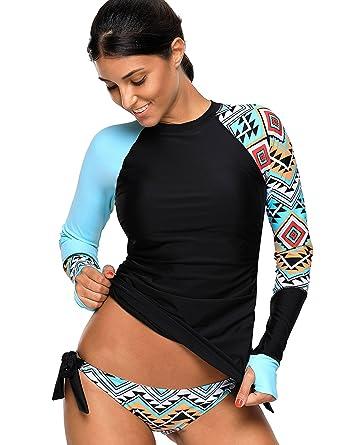 competitive price c0792 0db1f KamiraCoco Bikini Damen Stand Badeanzug Bademode Schwimmshirt Kurzarm UV  Shirt Rash Guard Badeshirt UPF 50+