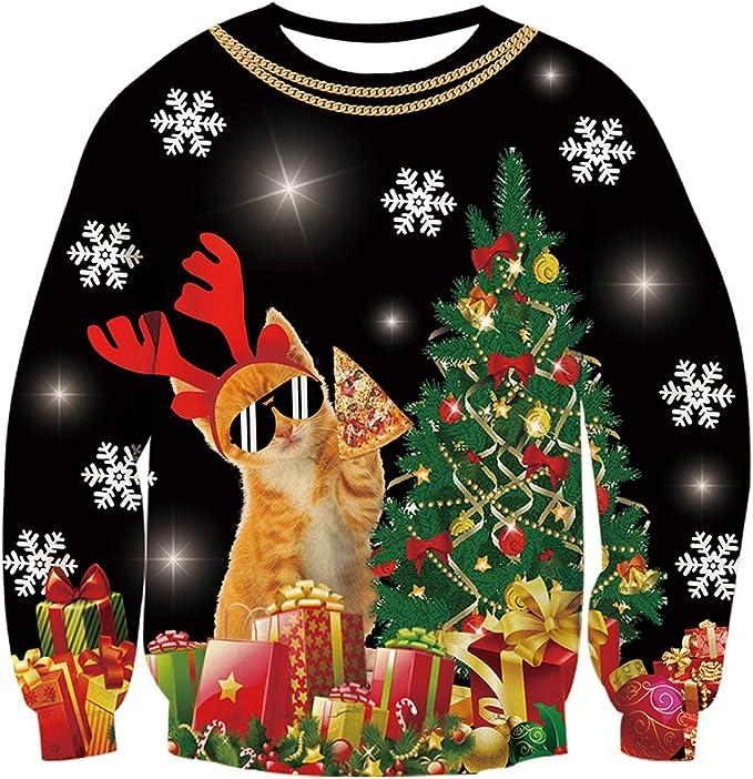 UNIFACO Unisex Ugly Christmas Sweater 3D Print Sweatshirts Funny Cat Xmas Novelty Pullovers