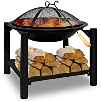 Brasero de jardin en Acier rond 55cm BBQ cheminée barbecue chauffage extérieur