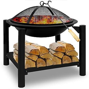 Brasero De Jardin En Acier Rond 55cm Bbq Cheminée Barbecue Chauffage