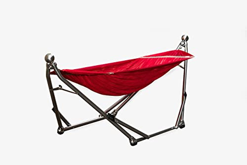 Wynn Wyse Designs Portable Stainless Steel Hammock Stand Combination Red