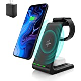 Wireless Charging Stand, Muleug 3 in 1 Wireless Charger Charging Station Dock for Apple Watch SE 6 5 4 3 2, Airpods Pro, iPho