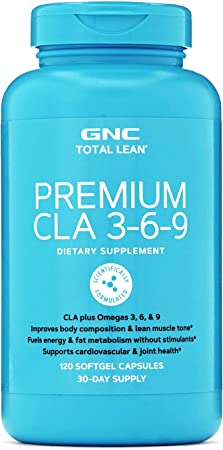 GNC Total Lean Premium CLA 3-6-9, 120 Softgels, Supports Exercise and Muscle Recovery