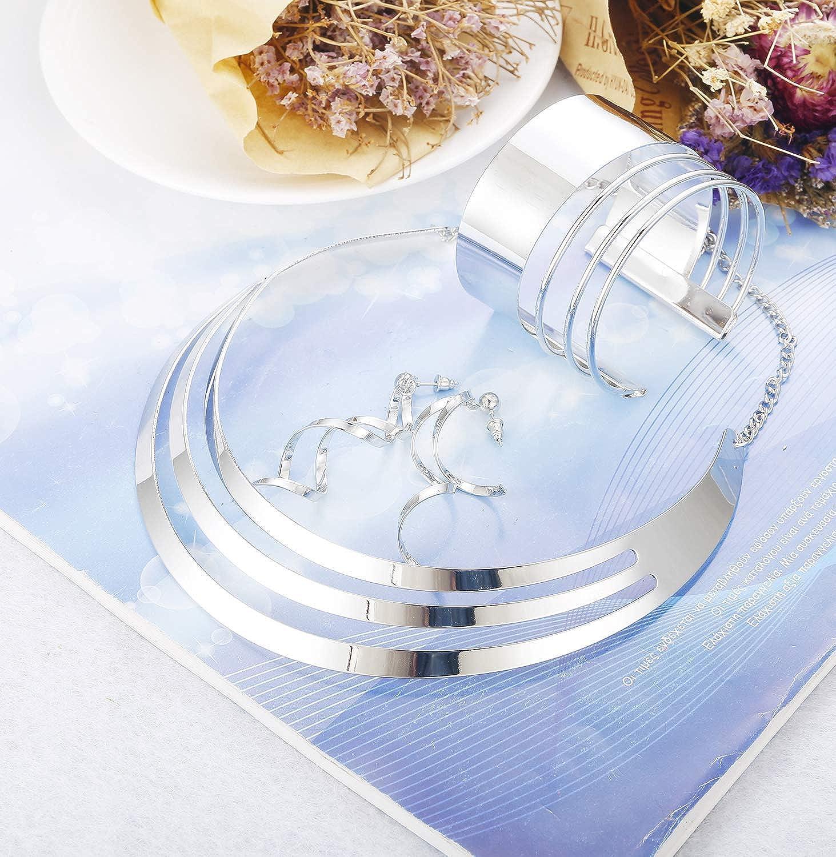 Adramata Bib Choker Collier Ensemble pour Les Femmes Large Manchette Bracelet Bracelets D/éclaration Balancent Boucles doreilles Bijoux