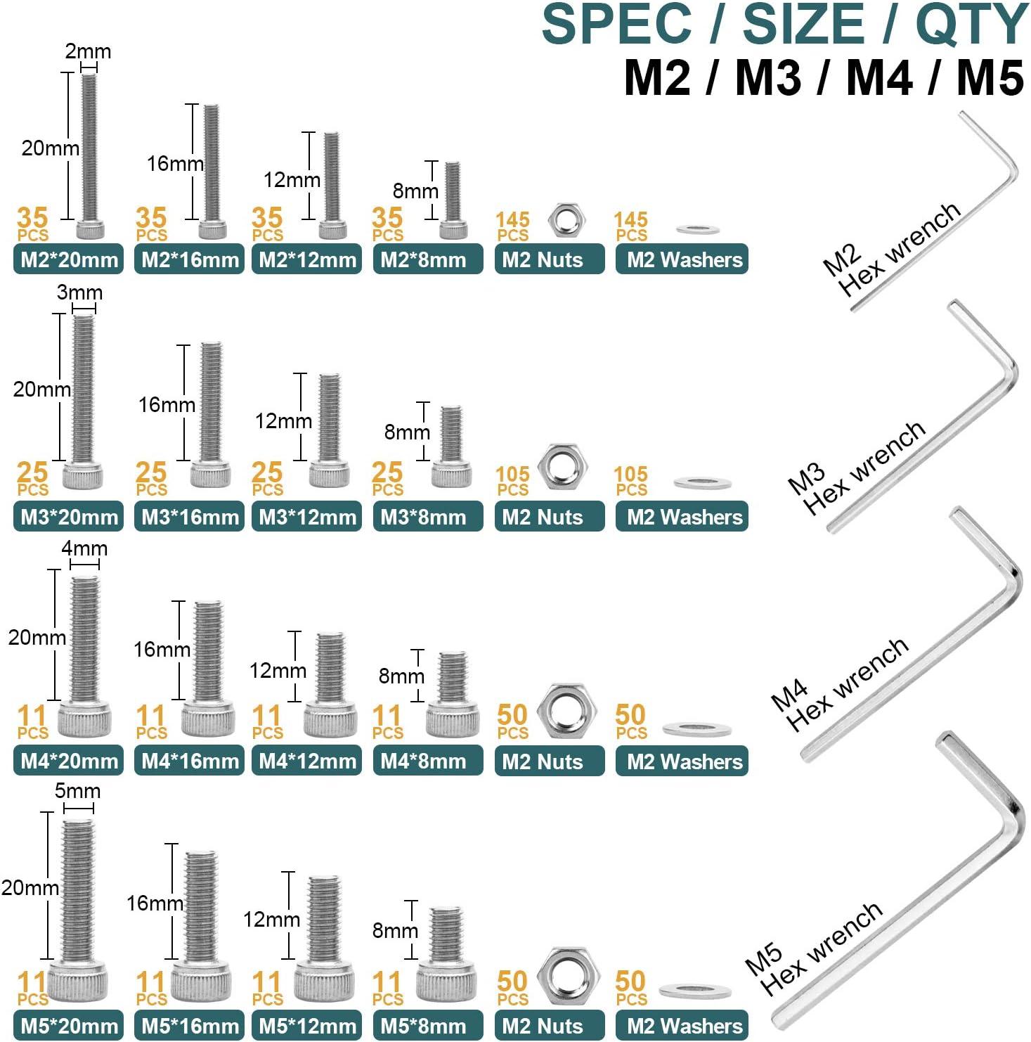Hex flach-Knopf Schrauben Schraubenschl/üssel XIESK 1032St/ück M2 M3 M4 M5 Edelstahl Hex flach-Knopf Schrauben Schrauben Muttern und Unterlegscheiben