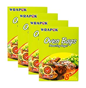 WRAPOK Oven Cooking Turkey Bags Small Size Ribs Baking Roasting Bags No Mess For Chicken Meat Ham Poultry Fish Seafood Vegetable - 32 Bags (10 x 15 Inch)