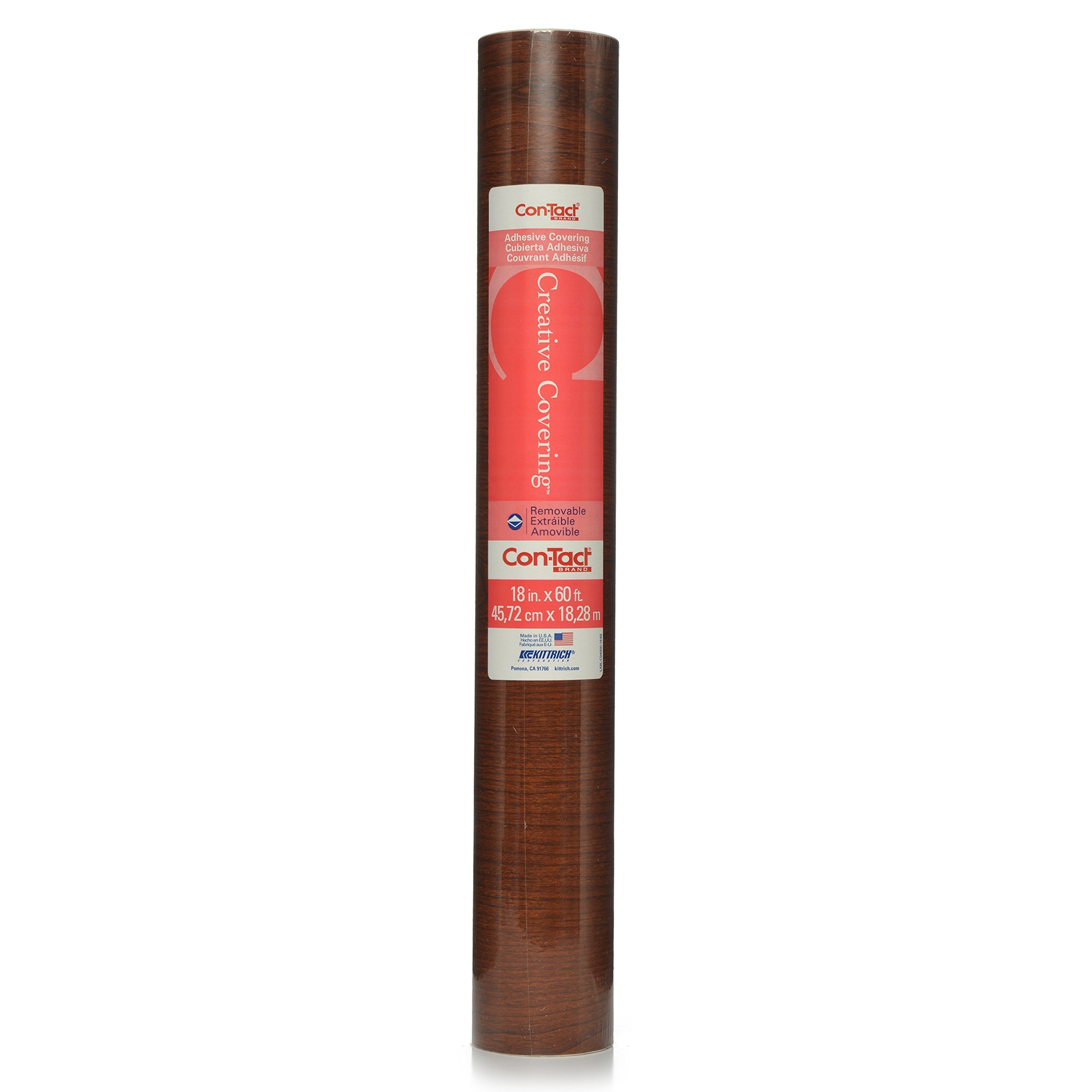 Con-Tact Brand Creative Covering, 60F-C9A4M6-01, Adhesive Vinyl Shelf Liner and DrawerLiner, Cherry Woodgrain, 18'' x 60'