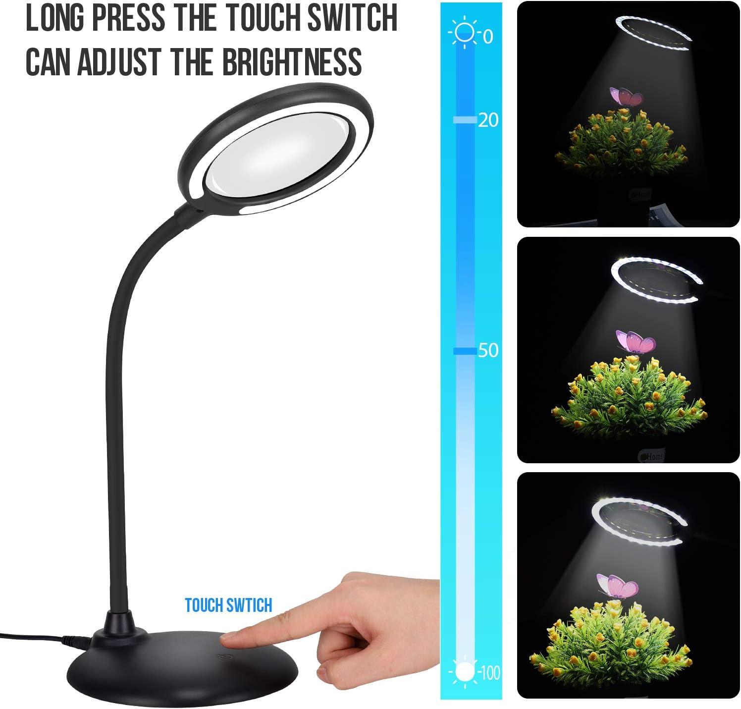 cucito LED 3X ingrandimento della lampada mani libere con luce per lavoro hobby artigianato ingrandimento del vetro con luce dimmerabile e supporto lettura nero