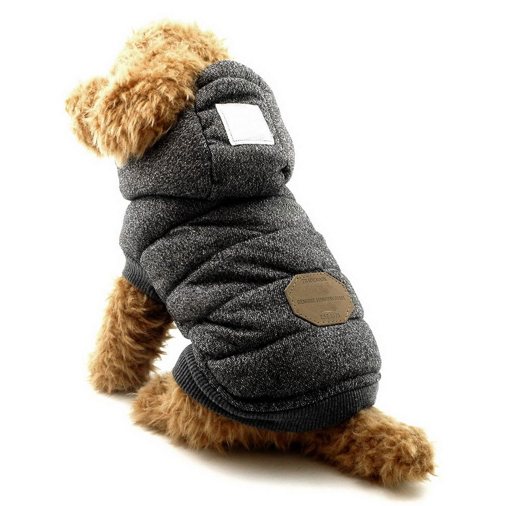 SELMAI Fleece Dog Hoodie Winter Coat for Small Boy Dog Cat Puppy Cotton Hooded Jacket Chihuahua Clothes Grey L by SELMAI