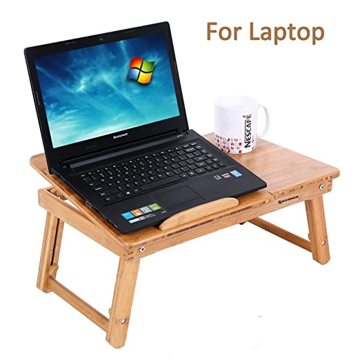 ADJUSTABLE BAMBOO LAP DESK WITH TILTING TOP AND DRAWER