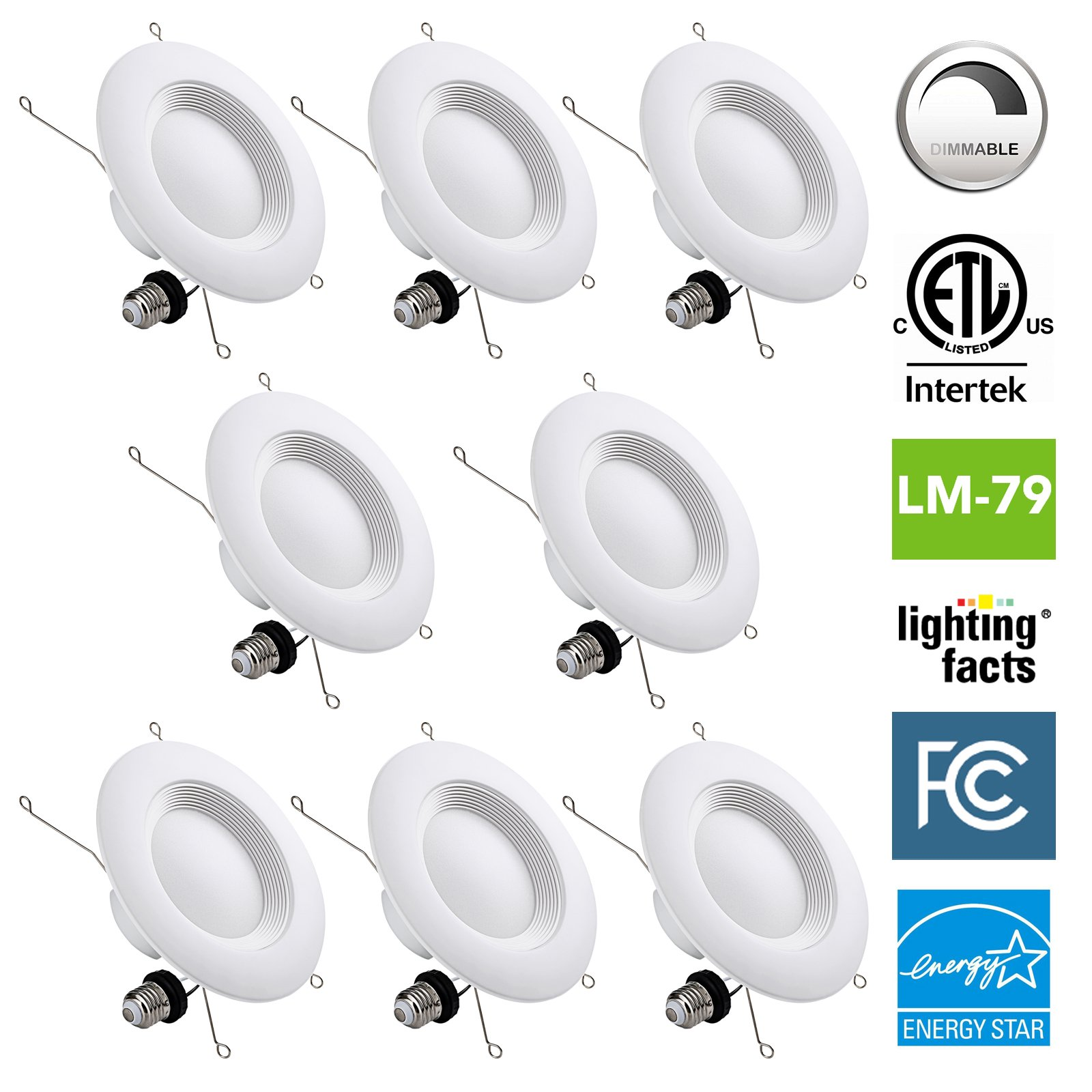NASUN 5/6 Inch Dimmable LED Downlight, ENERGY STAR, ETL, FCC, 12W, CRI90+, Recessed Retrofit Downlight Lighting Fixture - (Pack of 8), 5 Year Warranty