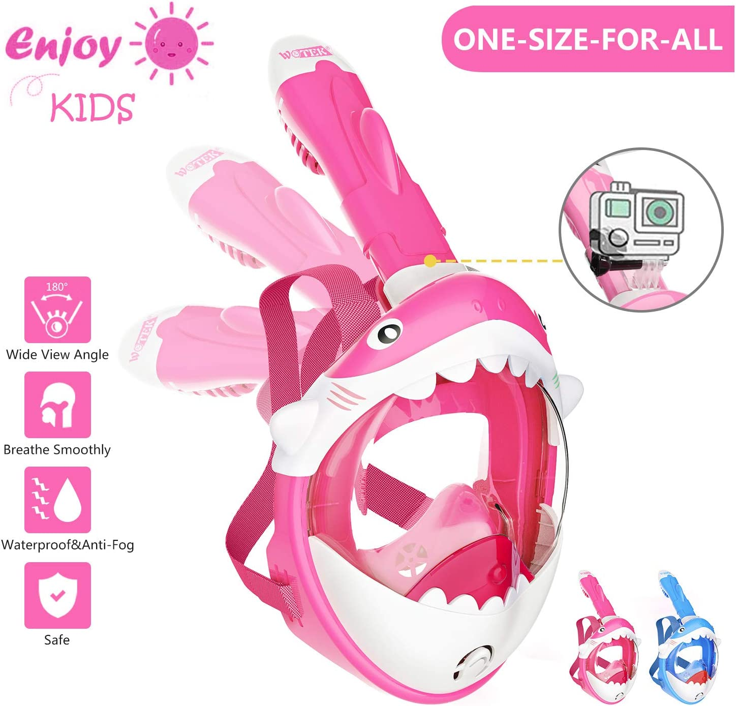 Childrens Snorkelling Mask Full Face-180/° HD View Easybreath Snorkel Mask with Shark Design and Detachable Camera Mount Children Snorkel Set with Anti-Fog and Anti-Leak design for 4-10 years Children
