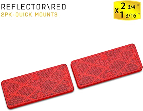 Reese Towpower 73888 Red Quick Mount Rectangular Reflector 2 Pack