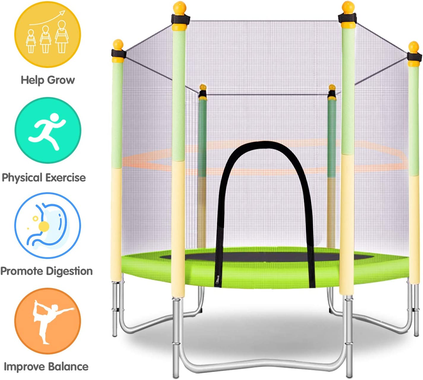 Yellow and Green Indoor or Outdoor Trampoline for Kids MOLANEPHY 5 FT Kids Trampoline with Safety Enclosure