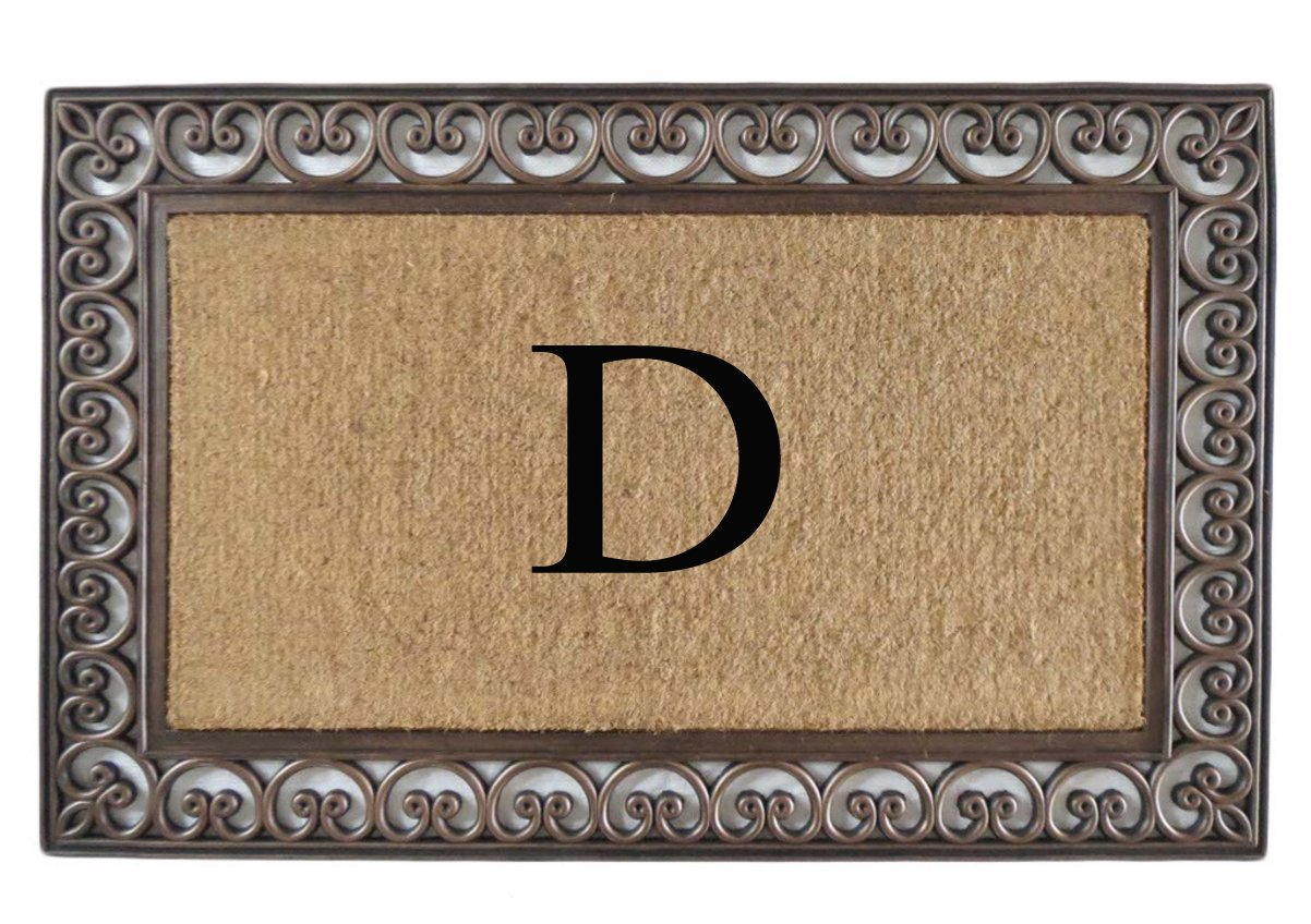 A1 Home Collections Rubber and Coir Classic Paisley Border, Double Doormat, Monogrammed D, X-Large by A1 Home Collections