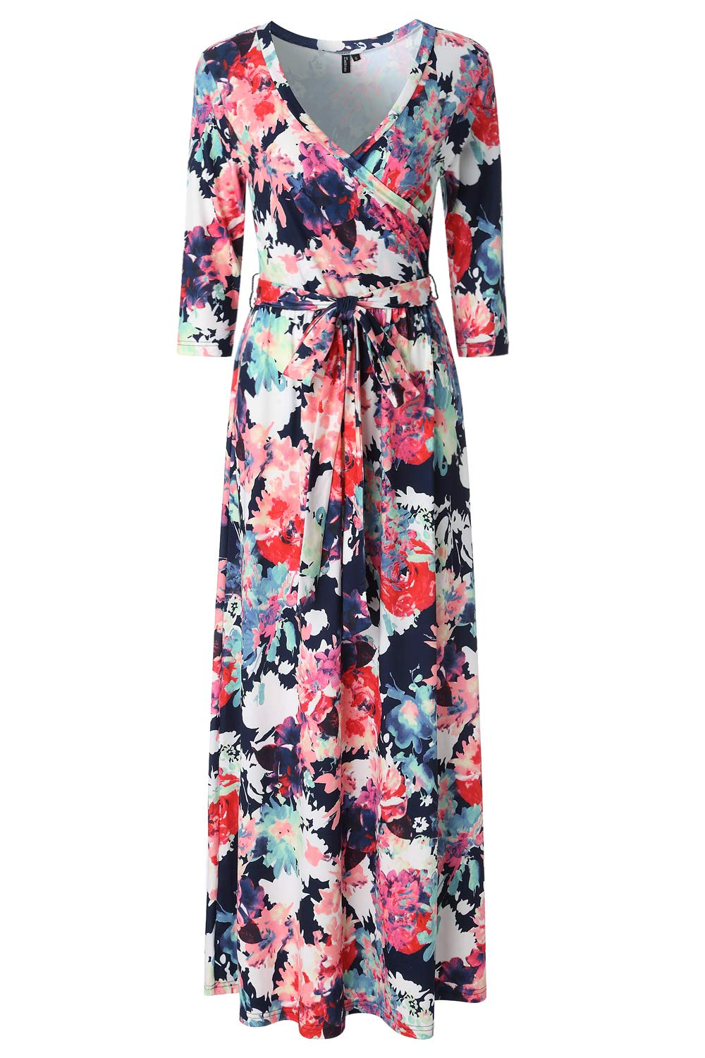 Zattcas Womens 3/4 Sleeve Floral Print Faux Wrap Long Maxi Dress with Belt (X-Large, Navy Multi)