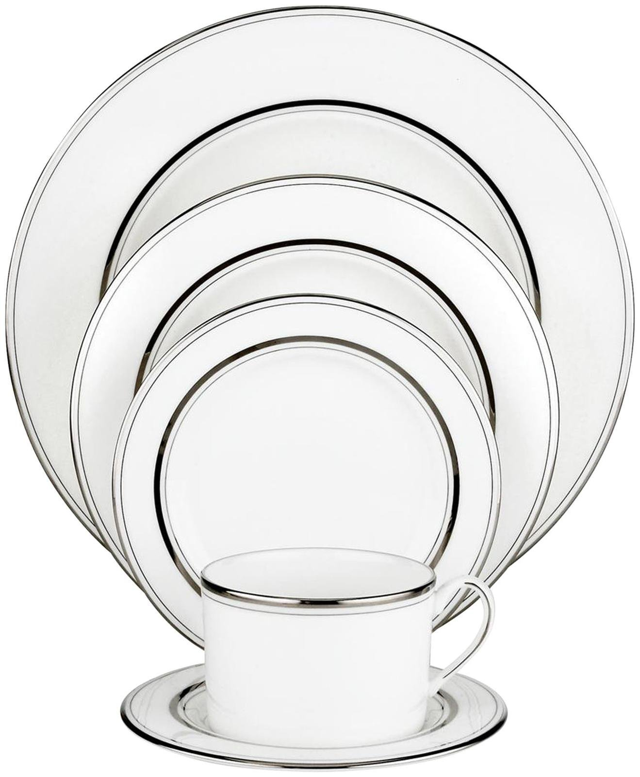 Kate Spade New York Library Lane Platinum Dinnerware 5 Piece Place Setting by Kate Spade New York