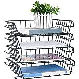 Stackable Letter Trays, 4 Tier Multifunctional Desktop Organizer & Underdesk Hanging Organizer, Metal Paper Tray Desk…