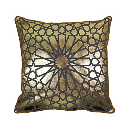 43 x 43 cm Original metálico dorado marroquí Quatrefoil azulejos aspecto Vintage funda para cojín, Gris, 17 x 17