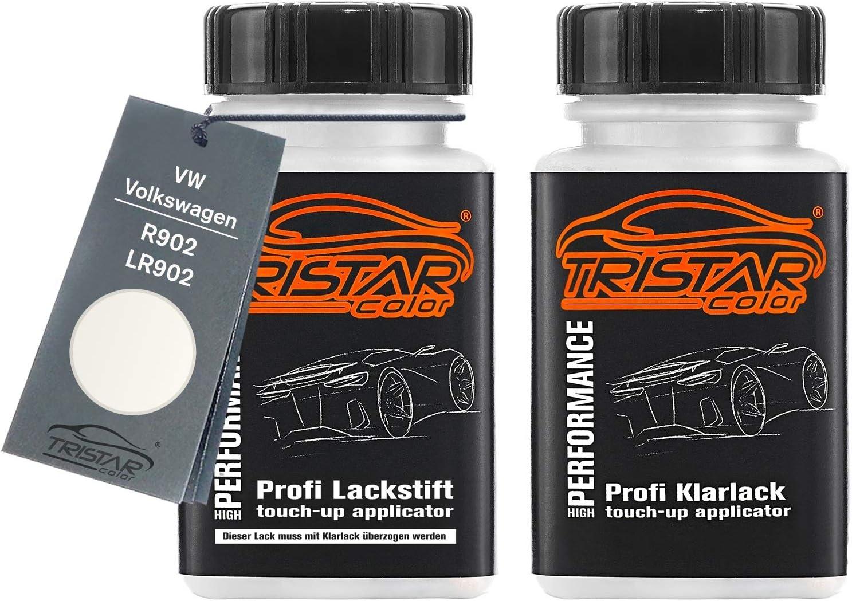 Tristarcolor Autolack Lackstift Set Für Vw Volkswagen R902 Lr902 Grauweiss Basislack Klarlack Je 50ml Auto