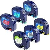 6-Pack Equivalent DYMO LetraTag Label Tape Refill 91330 91331 91332 91333 91334 91335 12mm x 4m (1/2 Inch x 13 Feet ) Combo Set Compatible Dymo LetraTag Plus LT100H LT100T QX50 Label Maker